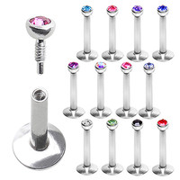 316L Surgical Steel Internally Threaded Labret/Monroe with 2mm Glass/Gemmed Ball