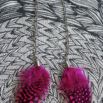 Fucshia Feather Chain Earrings