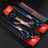 Superior Quality 8.0Inch JP440C Colorful Pet Grooming Scissors Pet Shears Straight &Thinning&Curved Scissors 3Pcs LZS0510