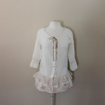 Shabby Chic Shirt - Romantic Top - Women's Upcycled Clothing - Repurposed Clothes