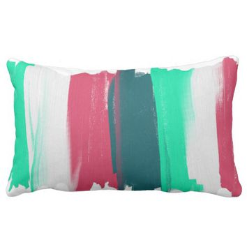 Abstract Art Lines Stripes Coral Turquoise Cushion