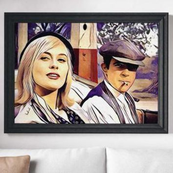 Bonnie & Clyde Movie Poster Art Canvas Print Wall