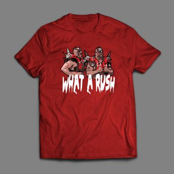 "PRO WRESTLING TAG TEAM CHAMPS ROAD WARRIORS "" WHAT A RUSH"" VINTAGE T-SHIRT"