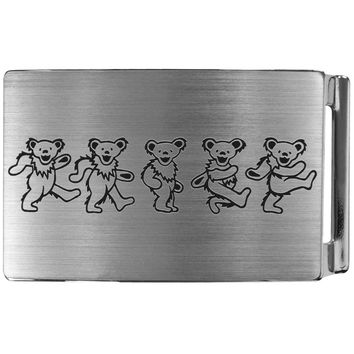Grateful Dead - Dancing Bears Brushed Silver Belt Buckle