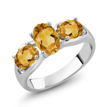 1.40 Ct Oval Yellow Citrine 925 Sterling Silver Ring