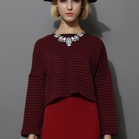 Red Zig Zag Knitted Cropped Top