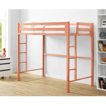 Bentley Twin Metal Loft Bed - Coral