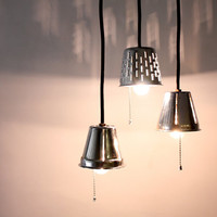Industrial Pendant Lights // Repurposed Grater Lamps // Upcycle Kitchen Lighting // Stainless Steel Light