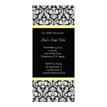 Yellow White Black Damask Baby Shower Invitations - Add shower details