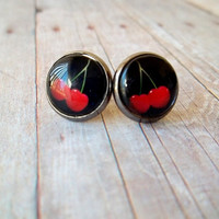 C H E R R I E S - Black and Red Cherry Art Photo Glass Cab Circle Silver Gunmetal Post Stud Earrings