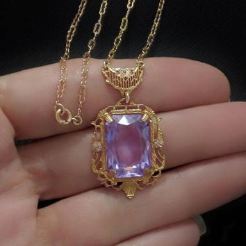 ART DECO Filigree Crystal Necklace ALEXANDRITE Czech Glass Jewelry, Womens Long Antique Necklaces, Color Change Lavender Purple Gift for Her