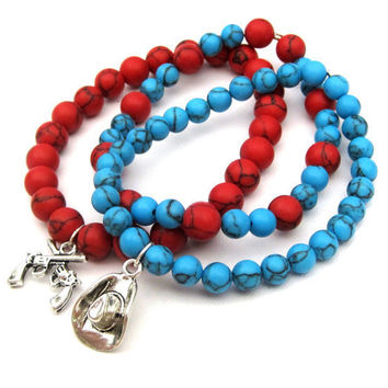 Cowgirl Chic Stacking Stretch Bracelets turquoise and red with cowboy hat & gun charms Set of 3