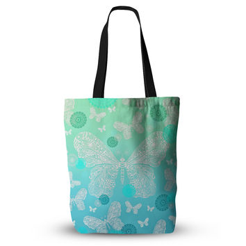 "Monika Strigel ""Butterfly Dreams Mint"" Aqua Teal Everything Tote Bag"