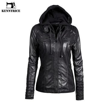 KENNTRICE Hoodie Leather Jacket Women Black Leather Hooded Jacket Front Pocket Slim Fit Ladies' Leather Jackets