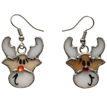 Stained Glass Reindeer Earrings
