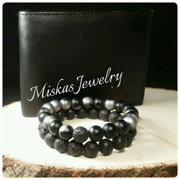 10mm Onyx and Lava Stone Gemstone Beaded Bracelet Sets/ Stacks  Men, Women, Unisex Miskas Jewelry