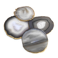 BLUE tone set of four natural agate gold edged coasters