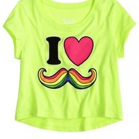I Love Mustache Crop Graphic Tee | Crop Tees | Graphic Tees | Shop Justice