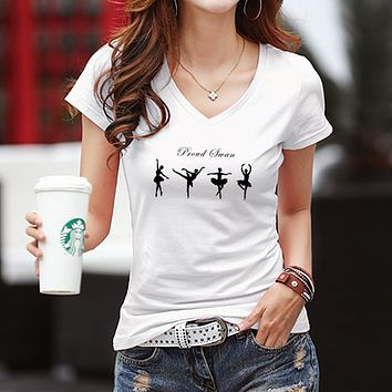 Women Casual Simple Fashion V-Neck Ballerina Girl Print Bodycon Short Sleeve T-shirt Top Tee