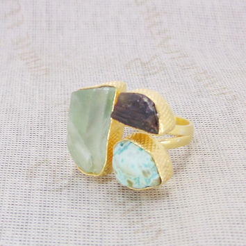 Raw Turquoise Ring - Gold Plated Ring - Green Fluorite Ring - Adjustable Ring - Black Tourmaline Ring - Rough Stone Ring - Wedding Ring