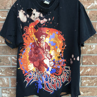JIMI HENDRIX Grunge, super soft tie dyed, bleached, destroyed, distressed tank medium