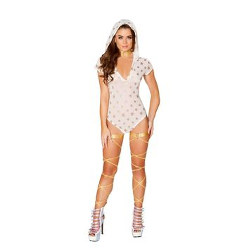 Roma Rave 3412 - Glitter Star Shaped Sheer Hooded Romper