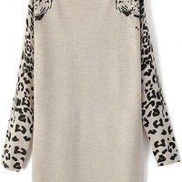 Grey Leopard Print Pullover
