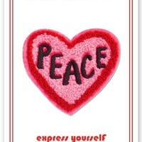 Peace Heart -- Iron On Patch