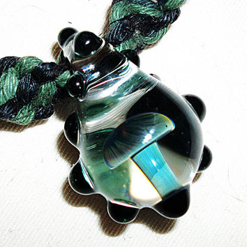 Dark Side of the Rainbow Mushroom Phat Hemp Necklace - Lampwork Glass Mushroom Pendant Hemp Jewelry