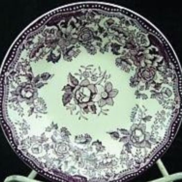 Purple Roses Transferware Clarice Cliff Floral Candy Dish Bowl