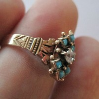 Victorian 14K Gold Turquoise Ornate Ring Paste