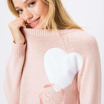 PINK HEART KNIT PULLOVER SWEATER