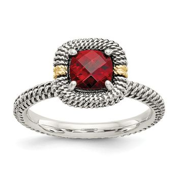 Sterling Silver Two Tone Silver And Gold Plated Sterling Silver w/14ky Garnet Cushion Ring