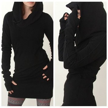 Women Autumn Long Sleeve Pure Color Hooded Hoodies Slim Fit Pullover Sweater Mini Dress S-XL [9714856207]