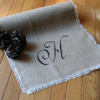 "Monogrammed Burlap Table Runner, Rustic Table Decor, Rustic Wedding Decor, 90"" Runner"