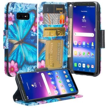 Samsung Galaxy S10 Lite Case, Galaxy S10 Lite Wallet Case, Wrist Strap Pu Leather Wallet Case [Kickstand] with ID & Credit Card Slots - Blue Butterfly