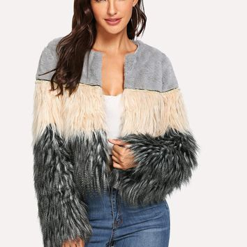 Colorblock Faux Fur Teddy Coat