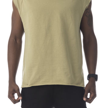 The Kerr Raw Cut Sleeveless Pullover in Sand
