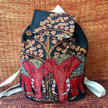 Elephant Unique Backpack Boho festival Vegan hippie Styles fabric Art Canvas design Overnight travel School bag Hipster Fashion men women