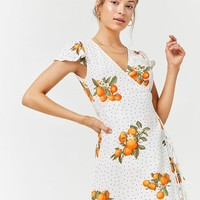 Orange Floral Polka Dot Surplice Dress