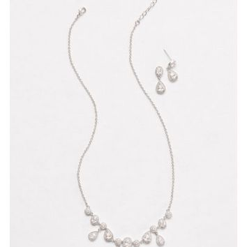 Pave Pear Drops Necklace and Earring Set - Davids Bridal