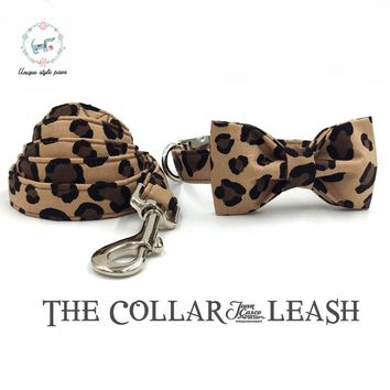 The leapard print dog collar and lead set with bow tie  cotton  dog &cat necklace and dog leash  unique style paws