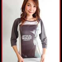 NWT Star Wars Trilogy Darth Vader Vintage Retro Punk Rock Style 3/4 Sleeve T-Shirt Handmade Women S, M, L
