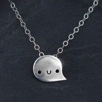 Tiny Silver Happy Ghost Necklace