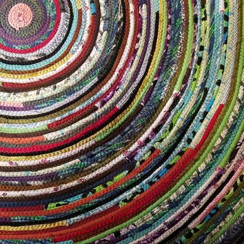 Multicolor Round Rug, 4-foot, Bohemian Hippie Colors, Ready to Ship!