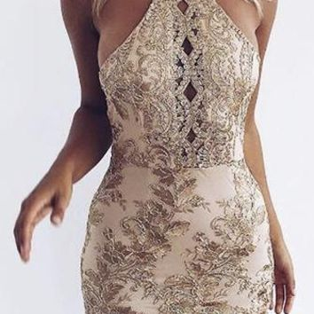 Feeling This Gold Spaghetti Strap Sleeveless Lace Embroidery Cut Out Backless Bodycon Mini Dress
