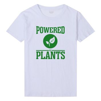 Powered By Plants T-Shirt Femme Casual Vegan T Shirt Women Vegetarian Animal Friends Funny Graphic T-Shirt For Girls