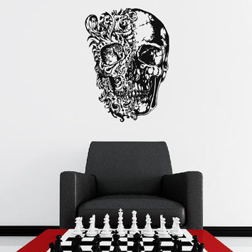 Wall Decal Vinyl Sticker Decals Art Decor Design Skull Tattoo Pattern Gift Boy Rock Cool Horor Bedroom Dorm (r1353)