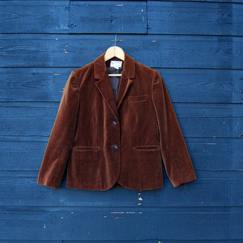 Vintage Velvet Blazer 70s Brown Velvet Jacket / SMALL 1970s Hippie Boho Velour Cotton Jacket, Fitted Tailored 2 Button 60s Mod Jacket Small