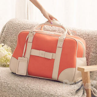 YESSTYLE: PG Beauty- Contrast-Trim Bow-Accent Carryall (Orange - One Size) - Free International Shipping on orders over $150